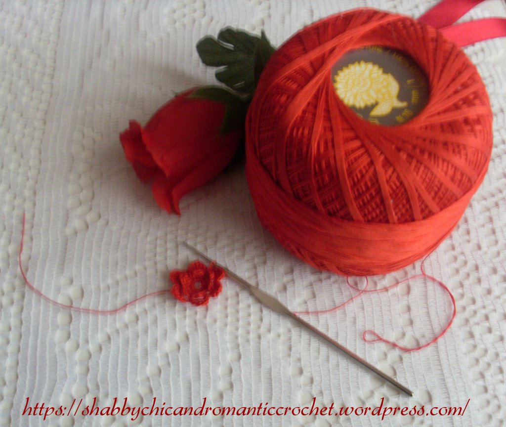 Crochet red rose (shabby chic and romantic crochet)