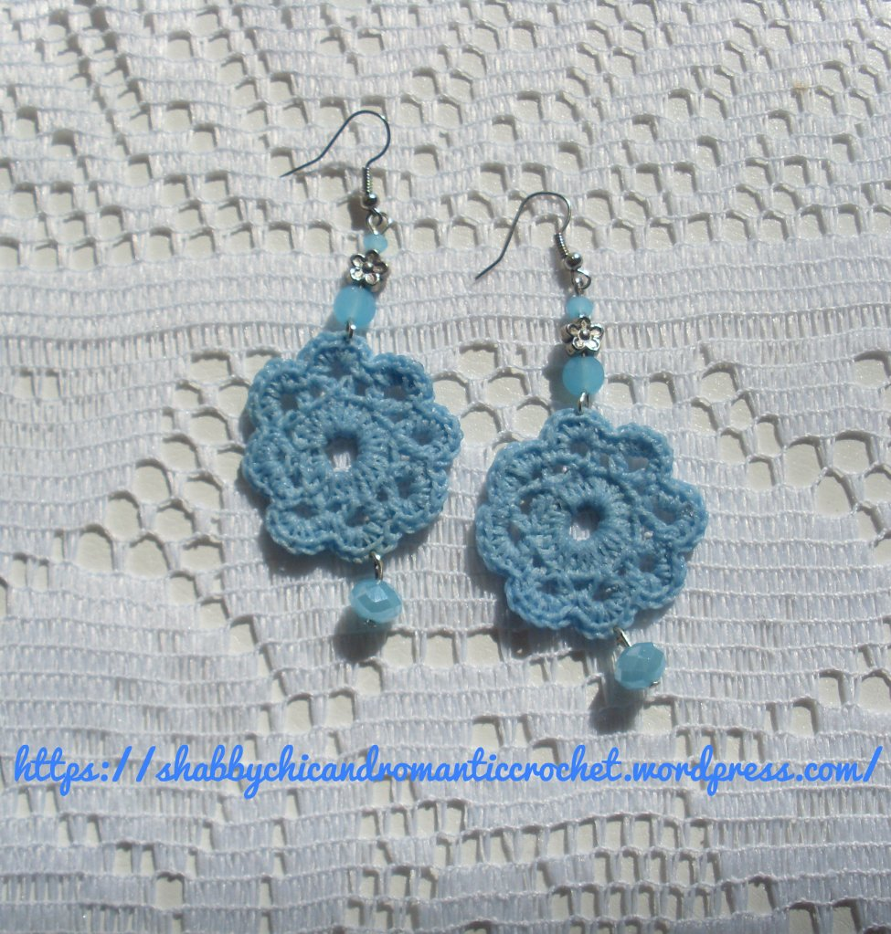 light blue crochet earrings  1